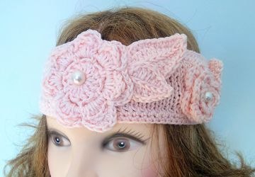 Beautiful Headband in Peach with Flowers and Glass Pearls