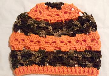 Camo and Pumpkin Orange Skulls hat