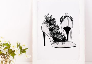 Fashion illustration, high heel prints.