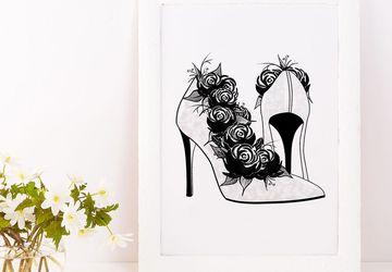 Fashion illustration, high heel prints.