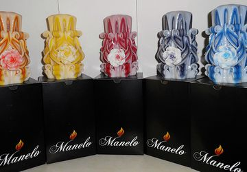 Set of 5 - Rose candle - Unique - Handmade gift candle - Hand Carved candles - 5 inch/ 12cm - red - violet - blue - yellow - orange