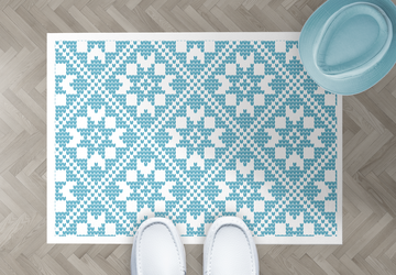 Blue nordic, PVC Carpet, Home Decor, Area Rug, Floor Rug, Linoleum Rug, Kitchen Rug, Colorful Rugs, New Home Gift, Home Design, Vinyl Rug
