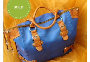 SOLD!!! Blue Weekender Vegan Leather Bag, Vegan Womens Weekend Bag, Travel Bag, Weekender Travel Bag, Faux Leather Overnight Bag, Leather Bag