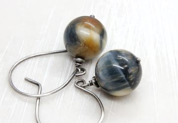 Tiger Eye Earrings Oxidized Silver Gemstone Jewelry Hawks Eye Earrings Gem Stone Jewelry