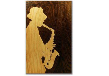 ORIGINAL Wooden blues jazz music black & white chill art marquetry portrait intarsia by Andulino