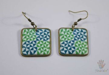 Portuguese Ceramic Tiles Squared Earrings - BQDA-2-61