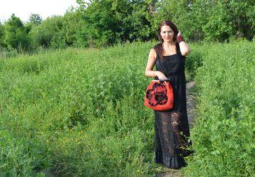 A milled woolen handbag