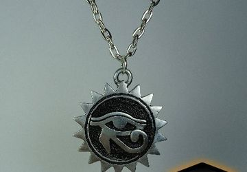 Silver All Seing Eye Pendant - Sun Medallion - Eye Medallion - Egyptian Necklace - Egyptian Pendant - All Seing Eye