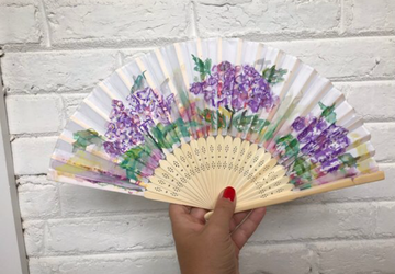 Hydrangeas Hand Painted Hand Fan, Handfan, Folding Fan - Gift for Her, Gift for Mom, Great Accessory for Outdoor Wedding, Beach Wedding