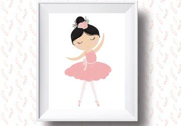 Pink ballerina, children wall art