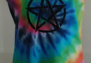 Rainbow Tie Dye Vest Top with Pentagram Stencil