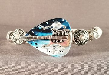 "Guitar pick and guitar string bracelet ""Blues Guitar"""