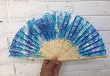 Blue Sparkle Hand Painted Hand Fan