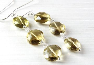 Golden Quartz Earrings Sterling Silver Gemstone Jewelry Holiday Gifts For Her