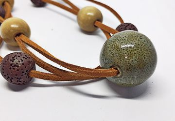 Beaded Choker Necklace, Lava Bead Necklace, Wood Bead Necklace
