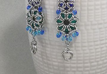 Blue&Teal Czech Crystals Captive in Chain Mail Stainless Steel Earrings