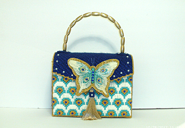 Royal Blue,Turquoise and Gold Butterfly Handbag