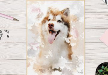 Custom Watercolor Pet Portrait From Photo