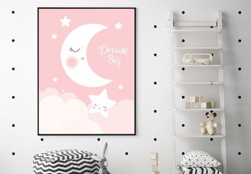 Dream big, moon and stars,pink, children wall art