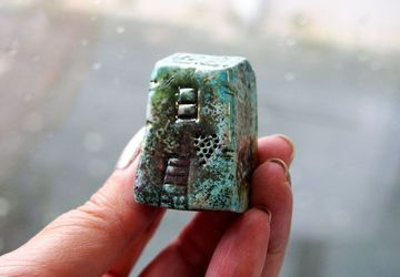 Raku ceramic little clay house, Home decor