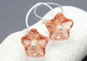 Flower Earrings Sterling Silver Peach Earrings