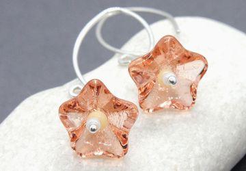 Flower Earrings Sterling Silver Peach Earrings