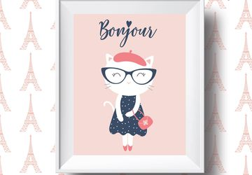 Bonjour, french cat print, children wall art