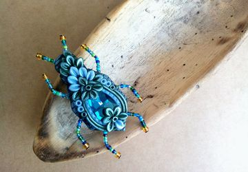 Insect brooch (handmade insect brooch with glass crystal made from polymer clay in black and blue tones)