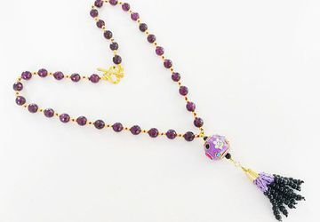 Handknotted purple jade necklace Swarovski crystals Kundan tassel pendant Chunky beads party necklace ethnic gift for her