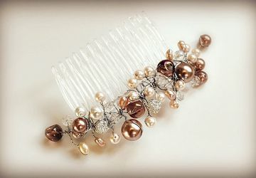 Pearl and Champagne Bead Haircomb