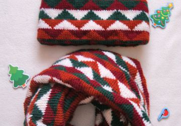 hat and a neck warmer with geometric jacquard pattern