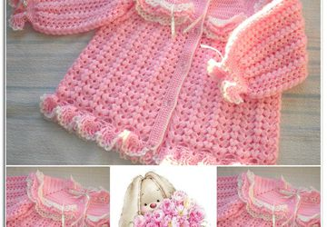 """Pink cloud"" - cardigan for a girl (18-24 months)"