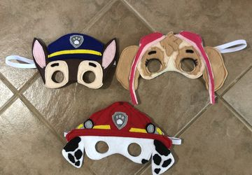 Felt Paw Patrol Inspired Masks, dramatic play, playtime fun, costume accessories
