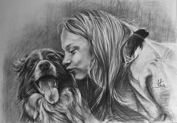 Pet-fancier Portrait / Charcoal Pencil Portrait from Photo / Dog Portrait / Art Portrait / Animal Favorite / Art /