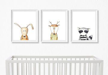 Woodland nursery prints, Nursery animals wall art, Gender neutral nursery decor