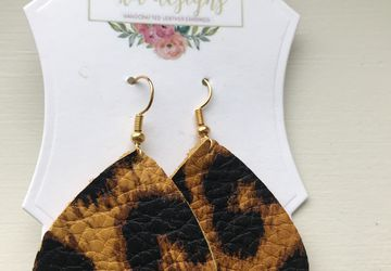 Cheetah print, genuine leather earrings