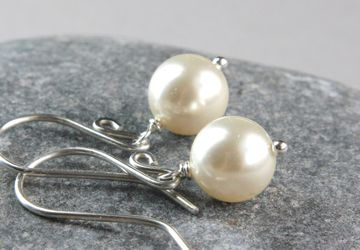 Crystal Pearl Earrings Sterling Silver Classic Earrings