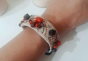 Boho bracelet with beads and charm