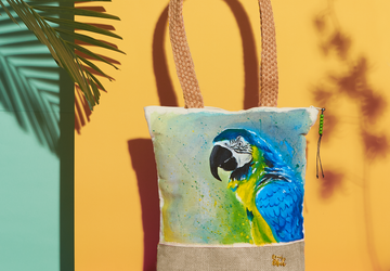 Macaw Hand Painted Tote Bag