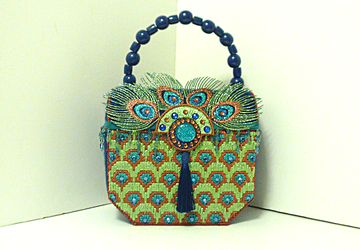 Royal Blue & Green Jeweled Peacock Handbag