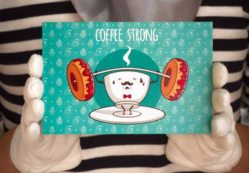 "Postcard ""Coffe Strong"""