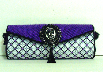 Purple and Black Sugar Skull Clutch/Evening bag