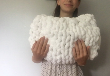 chunky knit pillow, white arm knit pillow