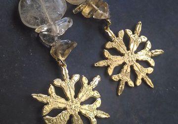 Goldplated snowflake earrings with citrine gemstones,real snowflake design
