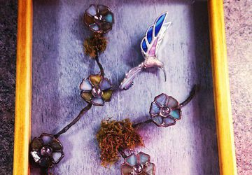 "Hummingbird Mixed media OOAK Piece ""Twilight Flight"""
