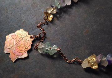 Copper rose necklace with fluorite,citrine,amethyst gemstones