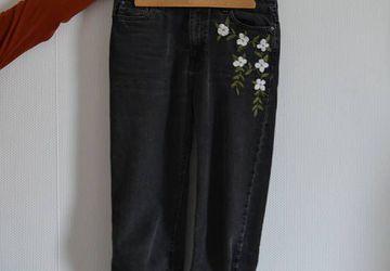 White flower jeans