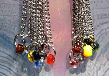 Dangle Earrings, Chandelier, Modern, Chains, Multicolored, Glass, Beads, Stylish, Sexy, OOAK