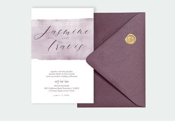 Purple Watercolor Wedding Invitation Suite, Template