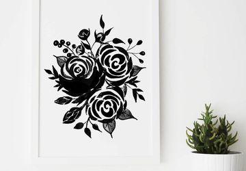 Roses print, black roses
